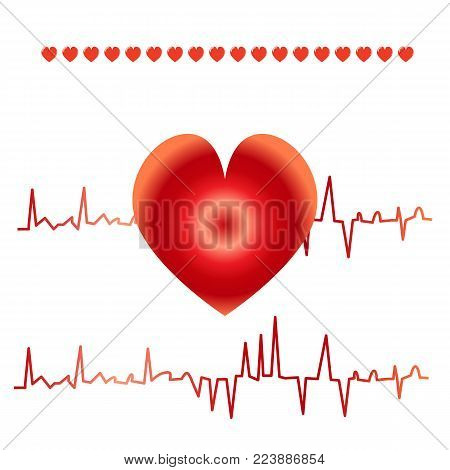 Set of Heart Shape with Cardiogram vector illustration. Art design health medical heartbeat pulse. Abstract Heartbeat line ecg graphic element.