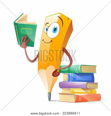Funny pensil with books. Education. Vector illustration flat