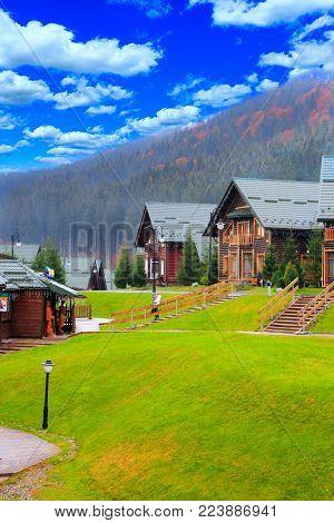 beautiful modern houses in the Carpathian mountains of Bukovel resort in Ivano-Frankivsk region Ukraine. Beautiful houses in neighbourhood