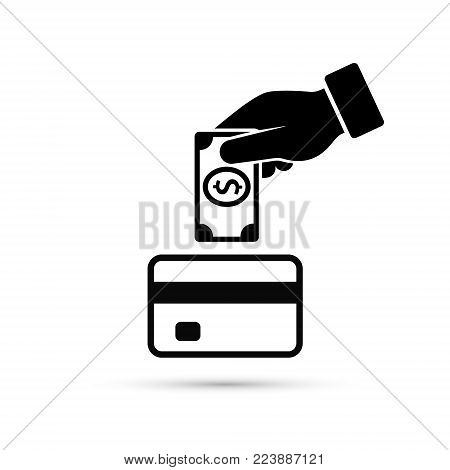 Hand put money in bank card account icon, vector. Cash get a bank card, replenish card. replenishment process illustration.