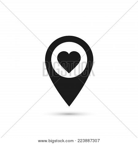 Map pointer with heart icon, location pin vector isolated symbol.