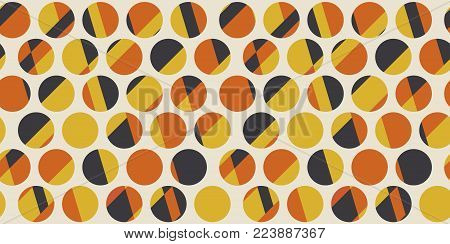 Color dots. Geometric circle seamless pattern vector illustration in retro 60s style. Vintage 1970s abstract motif in hot orange and yellow colors for carpet, wrapping paper, fabric, background.