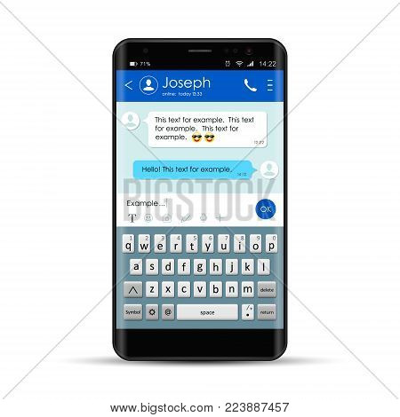 Realistic Smartphone With Messenger Chat App Template With Mobile Keyboard. Chating And Messaging, Social Network Concept. Messenger Window. Vector Illustration.