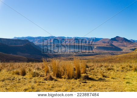 Orange Free State panorama on the road to Karoo, South Africa. African landscape