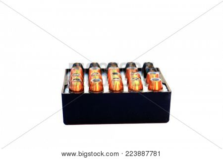 Hollow Point .45 caliber bullets isolated on white. poster