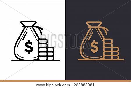 Vector linear icons MONEY BAG of finance, banking. High quality modern icons suitable for print, website and presentation