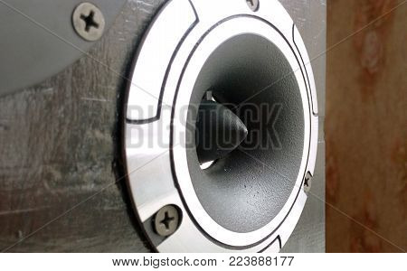 Tweeter the horn speaker high power and pure sound quality close-up blurred background