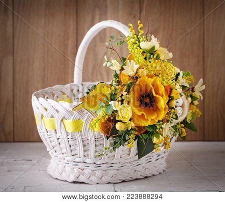 Easter basket. Easter decor. Designer wicker basket for celebration.