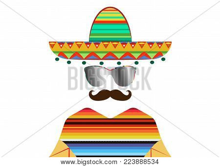 portrait of Mexican man in sombrero and poncho with sun glasses, sketch vector illustration isolated. Colorful drawing of Mexican man in traditional clothes and mustache icon template