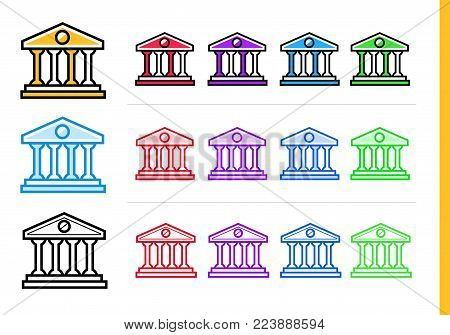 Unique linear icons BANK BUILDING of finance, banking. Modern outline icons for mobile application