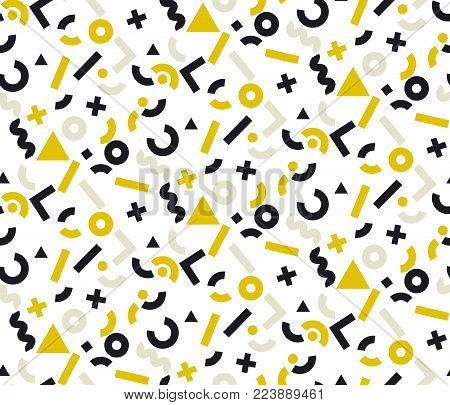 Geometric gold and black motif for fashion, wallpaper, surface design. Memphis style inspired seamless pattern. Vintage stock vector illustration