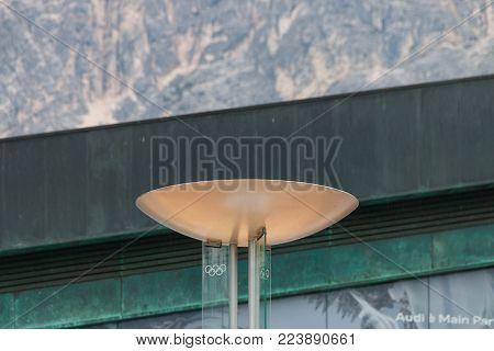 Cortina d'Ampezzo, Italy - May 31, 2017: Fire bowl of the Olympic fire of the Olympic Winter Games 1956 in Cortina d'Ampezzo, Italy