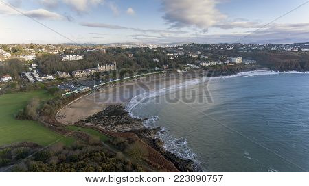 Editorial SWANSEA, UK - JANUARY 26, 2018: The Wales coastal path at Langland Bay on the Gower peninsula, Swansea, a long-distance footpath which runs along the majority of the coastline of Wales.
