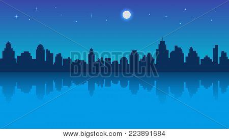 Night city with reflection and starry sky. Vector illustration in flat style design. Buildings silhouettes. Modern night urban landscape