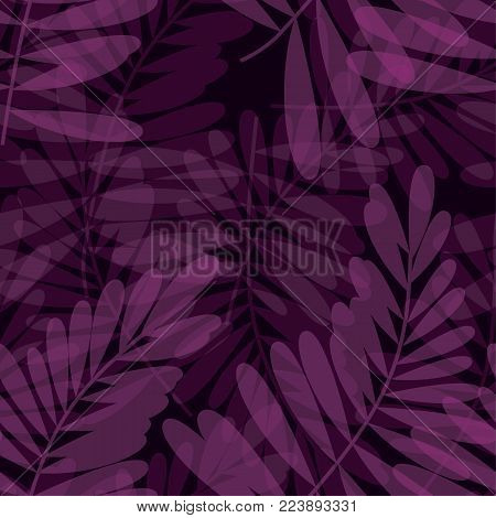 Purple violet tropical seamless pattern vector illustration for card, invitation, poster, header. Exotic dark forest leaves motif for surface design, fabric, wrapping paper.