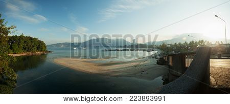 summer landscape panorama of Patong beach in the morning Phuket province Patong beach is popular and very famous tourist destination in Phuket thailand
