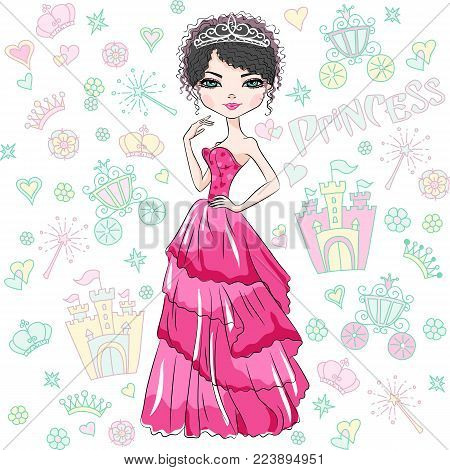 Beautiful fashion girl top model princess in the crown and in a beautiful red dress