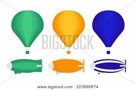 A set of transport for aeronautics. Set of aviation icons in flat style. Includes three air balloon and three airship (Zeppelin). Template for banner and web. Isolated on white background.