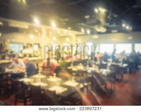 Blurred Interior Of Indian Buffet Restaurant In Irving, Texas, Usa