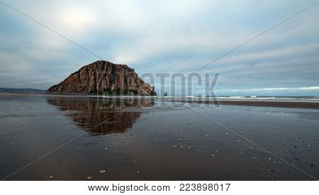 Morro Rock At Sunrise At Morro Bay State Park Popular Vacation / Camping Spot On The Central Califor