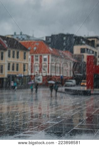 Abstract background of rain in city. Blurred background, focus on rain.