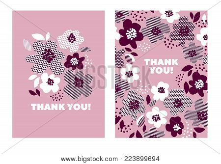Pale pink color abstract floral pattern for surface design. Rosy motif with stylized flowers for card, invitation, header, poster. Geometric black and white texture in floral design.