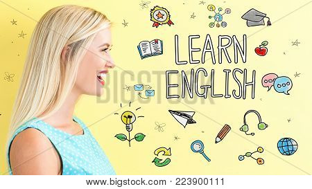Learn English theme with young woman on a yellow background