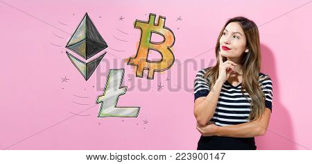 Bitcoin, Ethereum and Litecoin with young woman in a thoughtful pose