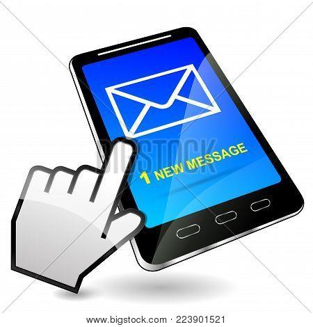 Illustration of mobile phone received message design
