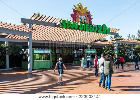 SAN DIEGO, CALIFORNIA - JANUARY 26, 2018:  People visit the 100-acre San Diego Zoo, founded in 1916, and housing over 3500 rare and endangered species and over 70,000 exotic plants.
