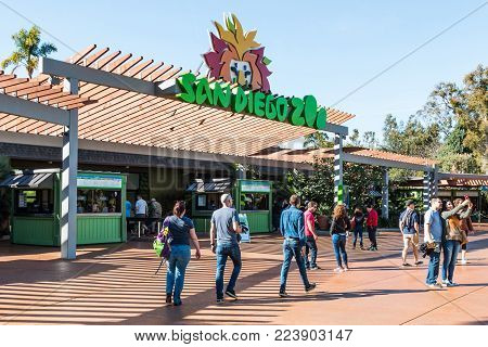 SAN DIEGO, CALIFORNIA - JANUARY 26, 2018:  People visit the San Diego Zoo, founded in 1916, and a pioneer in the concept of open-air, cageless animal exhibits.