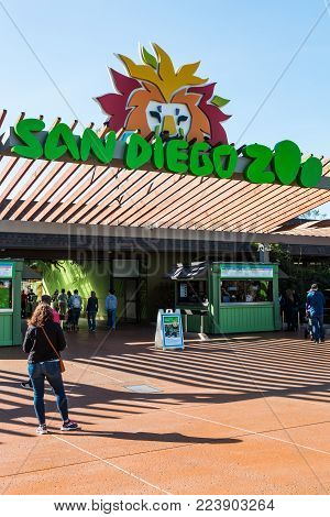 SAN DIEGO, CALIFORNIA - JANUARY 26, 2018:  The entrance to the world famous San Diego Zoo, founded in 1916, and housing over 3500 rare and endangered species.