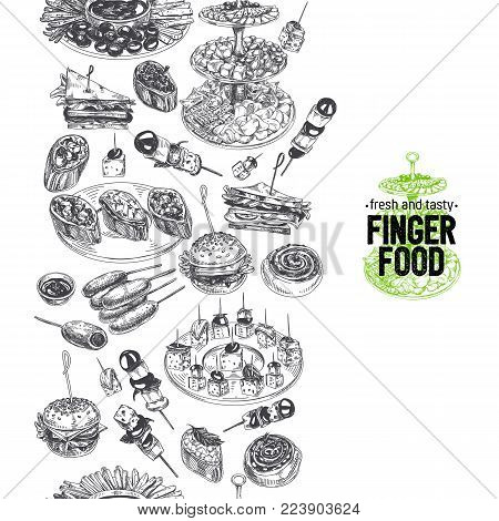 Beautiful vector hand drawn Appetizer Illustration. Detailed retro style images. Vintage sketch repeated background. Seamless border. Elements collection for design.