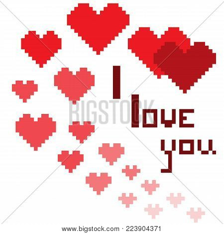 An illustration in the form of a pixelated hearts with the inscription I love you and smiley. Can be used as greeting card to lovers for holiday Valentine's Day