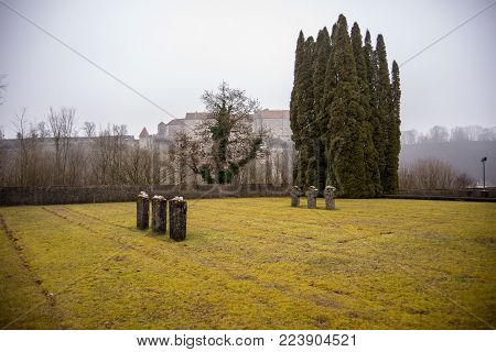Burghausen,Germany-Jan 26,2018: On the Holocaust meorial day view of graves of christian and jewish prisoners who died at an outpost of  the Dachau Concentration Camp