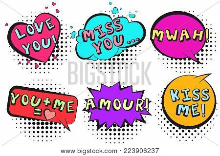 Bright retro comic speech bubbles set with colorful LOVE YOU, MISS YOU, KISS ME, MWAH, AMOUR words. Colorful outline balloons with halftone shadow in pop art style for St. Valentines event design