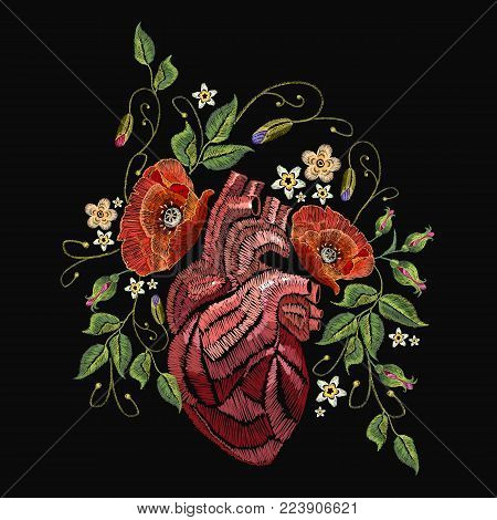 Embroidery wild roses, dogrose flowers and heart. Classic style embroidery, beautiful dogrose and anatomical heart pattern vector. Fashionable love template tapestry flowers renaissance