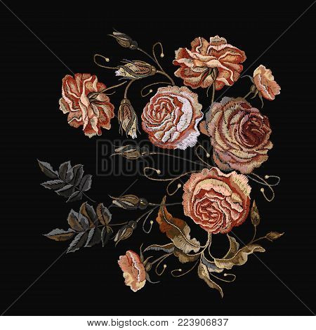 Roses vintage embroidery. Classical embroidery vintage buds of roses on black background. Design of clothes, t-shirt design, tapestry flowers renaissance style vector