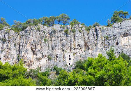 Hidden House Near The Cliff In Croatia During Summer Heat