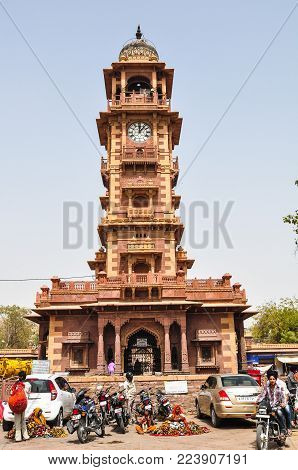 Jodhpur, India - Mar 6, 2012. Street With Ghanta Ghar (clock Tower) At Downtown In Jodhpur, India.