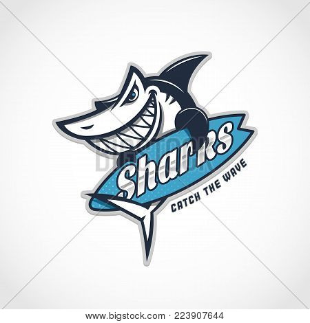 Angry shark mascot with surfboard. Vector illustration.
