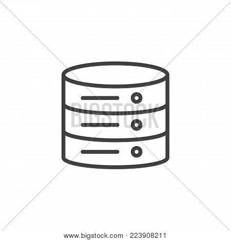Data center line icon, outline vector sign, linear style pictogram isolated on white. Database server symbol, logo illustration. Editable stroke