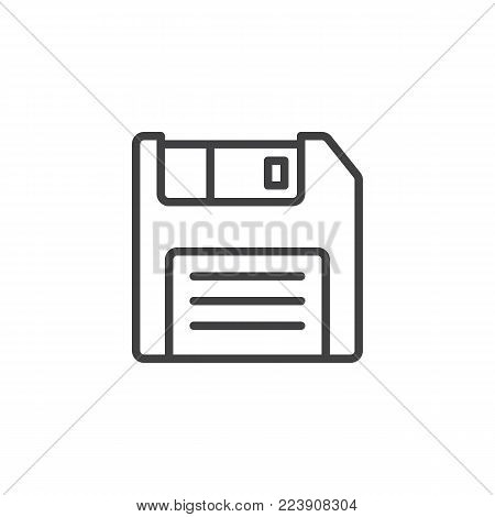 Floppy disc line icon, outline vector sign, linear style pictogram isolated on white. Diskette, Save symbol, logo illustration. Editable stroke