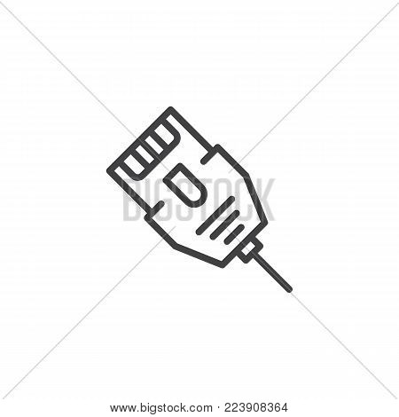 LAN connector cable line icon, outline vector sign, linear style pictogram isolated on white. Ethernet cable symbol, logo illustration. Editable stroke