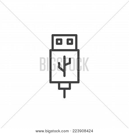 USB cable connector cord line icon, outline vector sign, linear style pictogram isolated on white. Symbol, logo illustration. Editable stroke