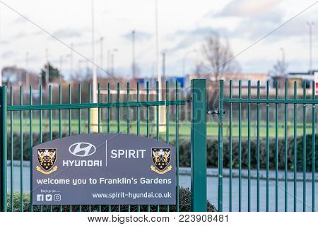 Northampton UK January 04, 2018: Hyunday Spirit welcomes you to Franklin Gardens home of Northampton Saints Rugby Club sign in Sixfields.