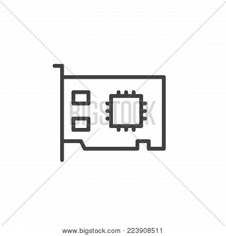 Networking card line icon, outline vector sign, linear style pictogram isolated on white. Expansion card symbol, logo illustration. Editable stroke