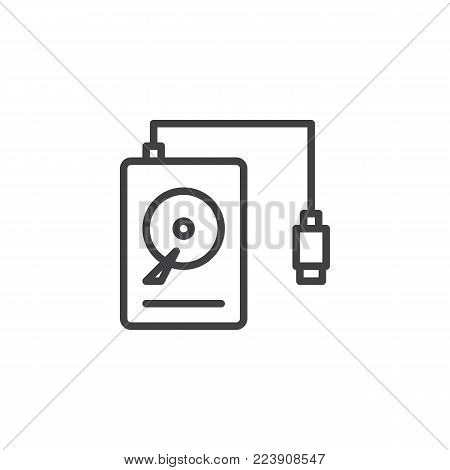Portable HDD line icon, outline vector sign, linear style pictogram isolated on white. Hard drive disk symbol, logo illustration. Editable stroke