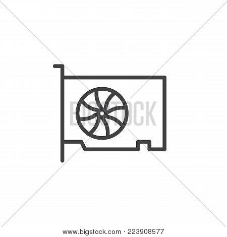 Video gpu card line icon, outline vector sign, linear style pictogram isolated on white. Graphic cards symbol, logo illustration. Editable stroke