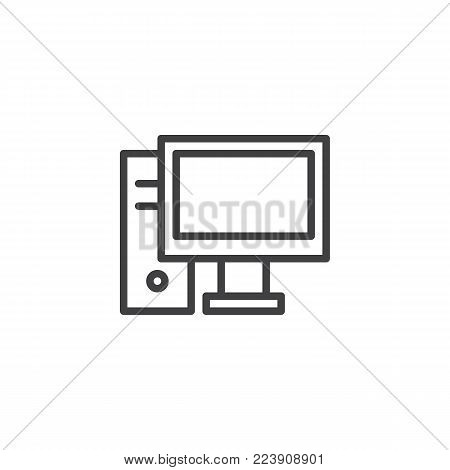 Desktop computer line icon, outline vector sign, linear style pictogram isolated on white. PC symbol, logo illustration. Editable stroke